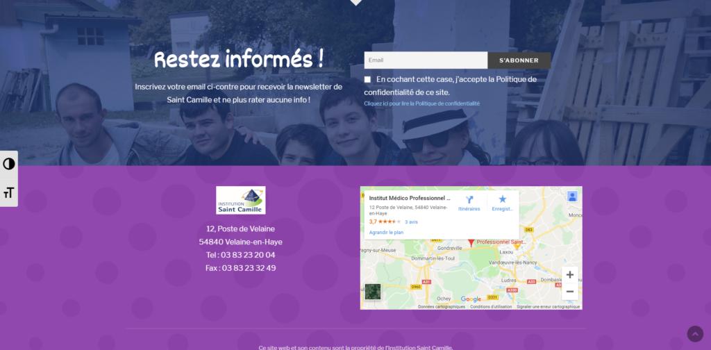 Saint Camille Accueil newsletter et contact