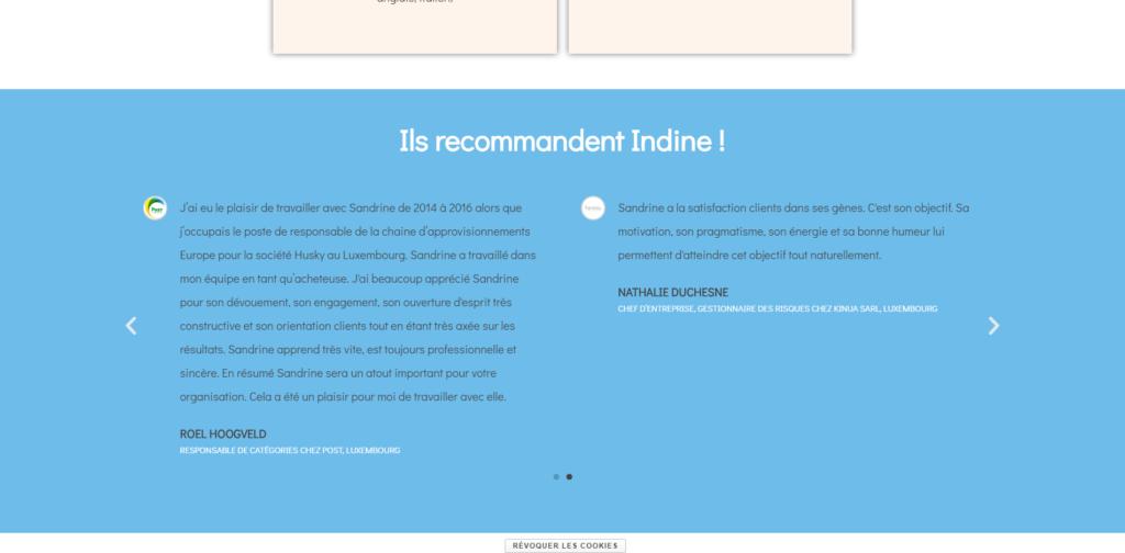 Indine Accueil - témoignages
